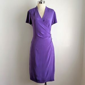 vintage 90's faux wrap lavender silk sheath dress